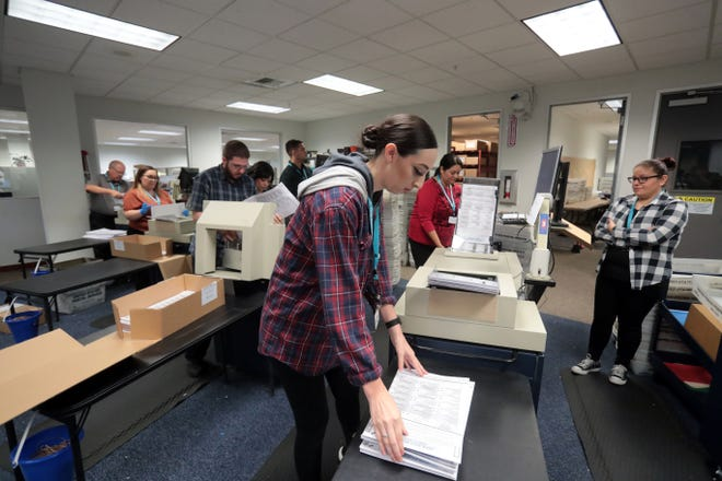 Desiree McCammon and other election workers feed ballots into a counting machine at the County of Riverside Registrar of Voters in Riverside on Tuesday, November 6, 2018.