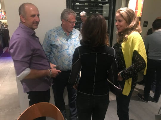 Palm Desert Councilwoman Jan Harnik celebrates early election results with family and friends at AC3 in Palm Desert on Nov. 6, 2018.