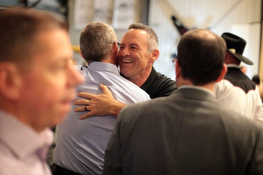 Riverside County Sheriff candidate Chad Bianco mingles with supporters on Tuesday, Nov. 6, 2018 at his election night party at the March Airbase museum in Riverside. He would go on to win the election.