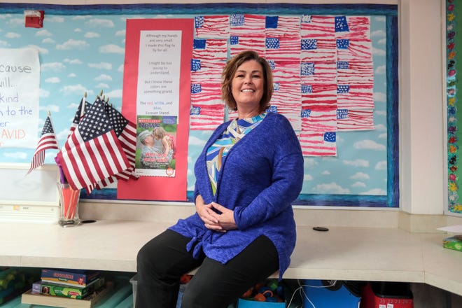 First-grade teacher at Lincoln Elementary and retired U.S. Army Reserve Capt. Michelle Cherland in her Palm Desert classroom on Wednesday, November 7, 2018 in Palm Desert. Cherland did three deployments to Iraq and Afghanistan.