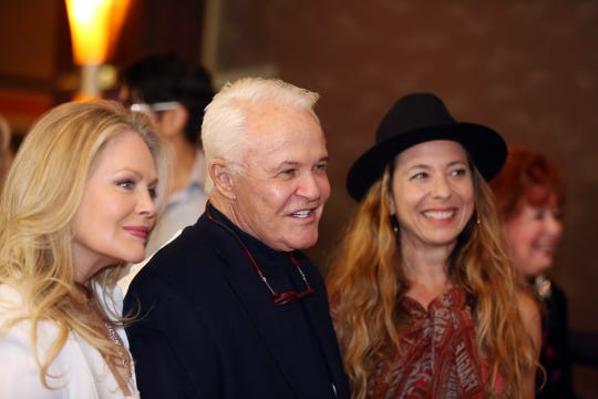 Beverly D'Angelo, left, Michael Childers and Moon Zappa mingle during the 10th Annual Broken Glass Awards Monday at the Agua Caliente Casino Resort Spa in Rancho Mirage.