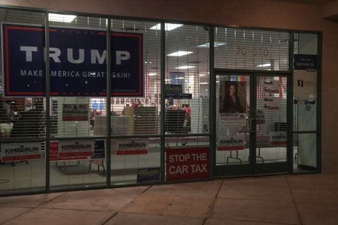 Reporters from The Desert Sun were not allowed inside of the East Valley Women's Republican Women Headquarters to report on election night results, La Quinta, Calif., Tuesday, November 6, 2018.