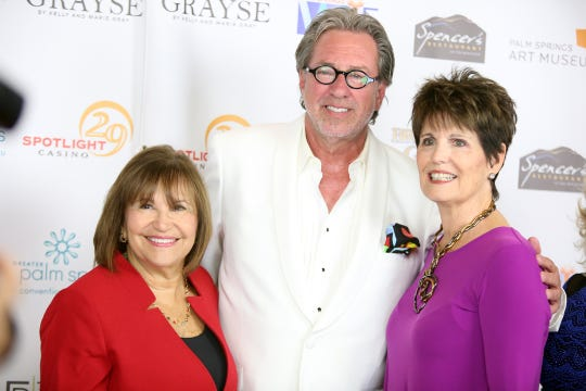 Broken Glass Award recipient, Sue Cameron, left, is photographed with local DJ Dan McGrath and Lucie Arnaz on the red carpet for the 10th Annual Broken Glass Awards Monday at the Agua Caliente Casino Resort Spa in Rancho Mirage.