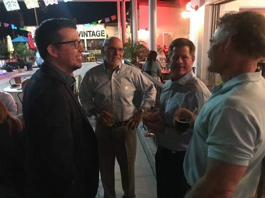 Palm Desert Mayor Sabby Jonathan talks to constituents as he waits for polls to close Nov. 6, 2018 at Cafe Casuelas in Palm Desert.