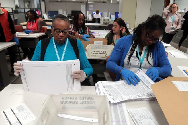 Election workers Sandra Smith, left, and Bridgette Eaves check the physical condition of ballots before they are fed into vote counting machines at County of Riverside Registrar of Voters in Riverside on Tuesday, November 6, 2018.