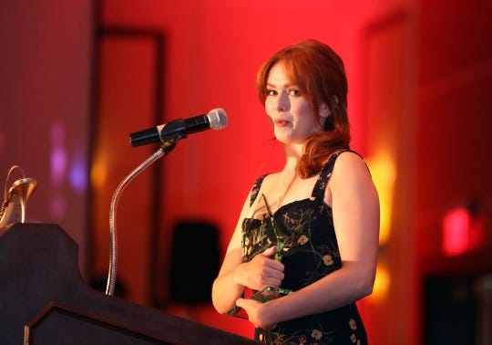 Rising Star Award recipient, Elizabeth McLaughlin, speaks during the 10th Annual Broken Glass Awards at the Agua Caliente Casino Resort Spa in Rancho Mirage on Monday. The awards were presented by the Palm Springs Women In Film and Television.