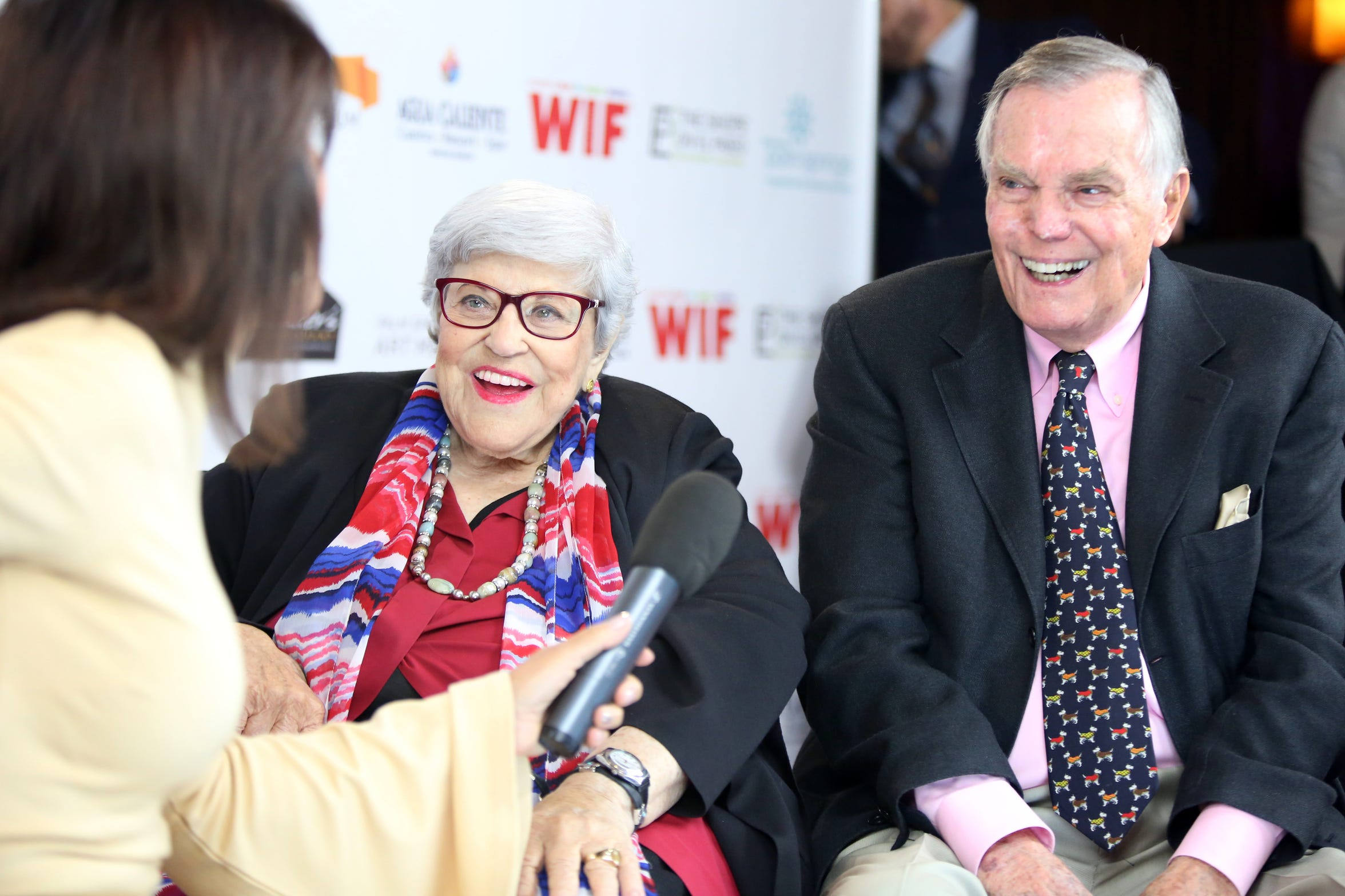 Lifetime Achievement Award recipient Kaye Ballard, center, and presenter Peter Marshall arrive on the red carpet for the 10th Annual Broken Glass Awards at the Agua Caliente Casino Resort Spa in Rancho Mirage. The awards were presented in November by the Palm Springs Women In Film and Television.
