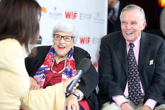 Lifetime Achievement Award recipient, Kaye Ballard, center, and presenter Peter Marshall arrive on the red carpet Monday for the 10th Annual Broken Glass Awards at the Agua Caliente Casino Resort Spa in Rancho Mirage. The awards were presented by the Palm Springs Women In Film and Television.