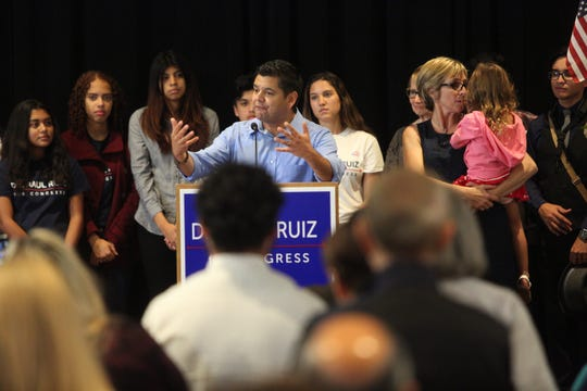 Democratic Rep. Raul Ruiz gives his victory speech at the Hilton Hotel in Palm Springs on election night Nov. 6, 2018.