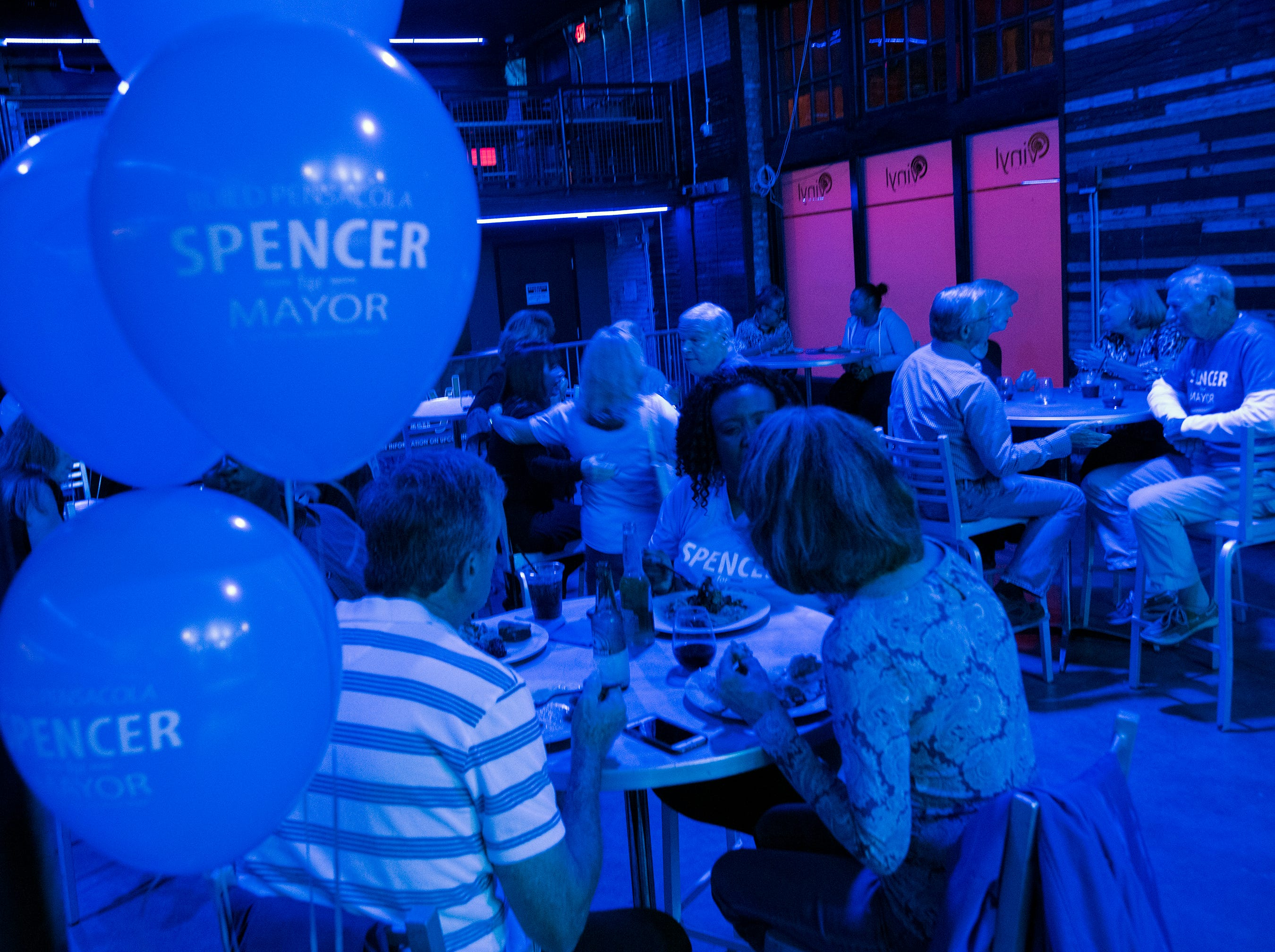 Supporters and volunteers for the Brian Spencer for Mayor campaign gather at Vinyl in downtown Pensacola to watch the election results come in on Tuesday night, Nov. 6, 2018. Spencer's opponent, Grover Robinson, won the election.