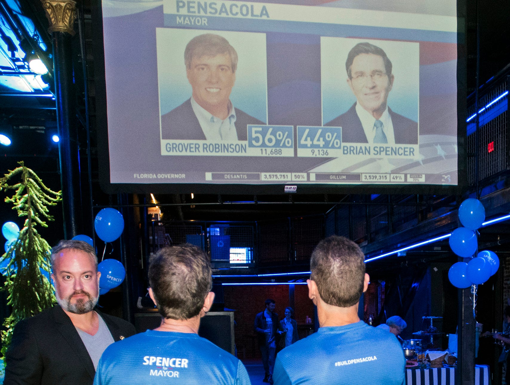 Pensacola Mayoral Candidate Brian Spencer and a few of his supporters watch the election result come in on Tuesday night. Spencer's opponent Grover Robinson won the election.