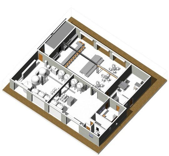 A drawing of the upcoming Emerald Republic Brewery at 1414 West Government St., shows the indoor layout, including fermenting tanks and seating, from above the building.