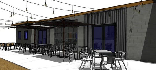 A drawing of the upcoming Emerald Republic Brewery at 1414 West Government St., shows the outdoor seating arrangement in the back of the building.