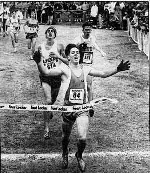 Booker T. Washington cross country star Brian Good wins a race in Charlotte, N.C., in 1992.