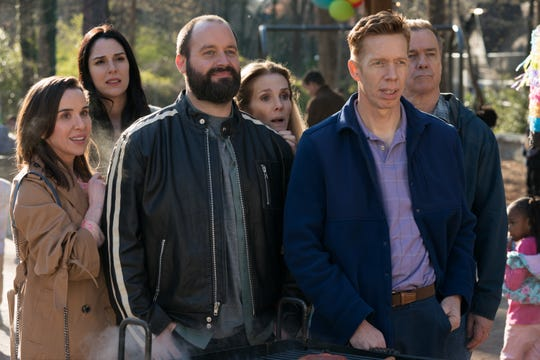 "Allyn Rachel (from left), Britt Rentschler, Tom Segura, Julie Hagerty, Jody Thompson and Michael O'Keefe star in ""Instant Family."""