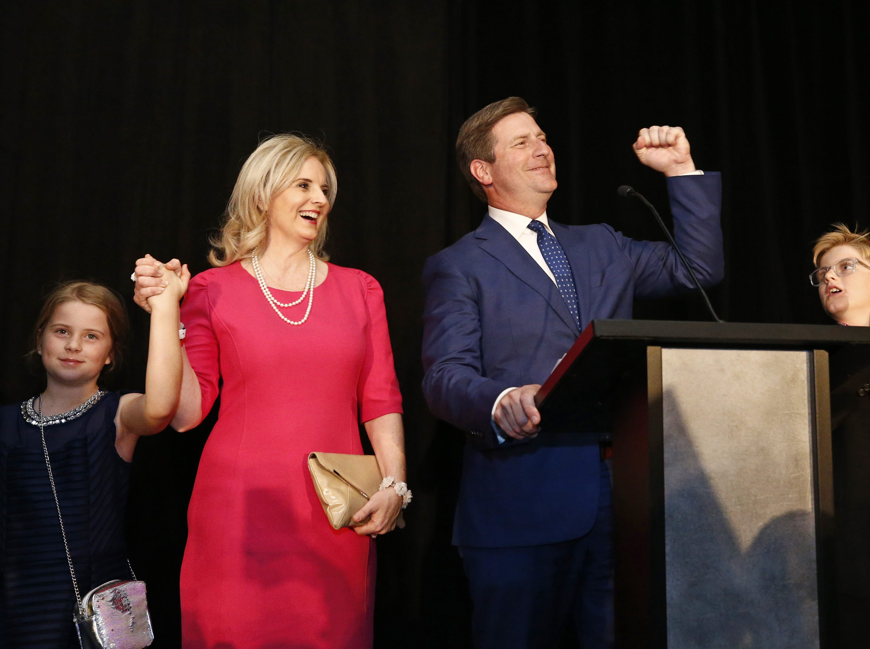 Greg Stanton, Democratic candidate for 9th District District, addresses the crowd at the election night watch party on Nov. 6, 2018 at the Renaissance Hotel in Phoenix.