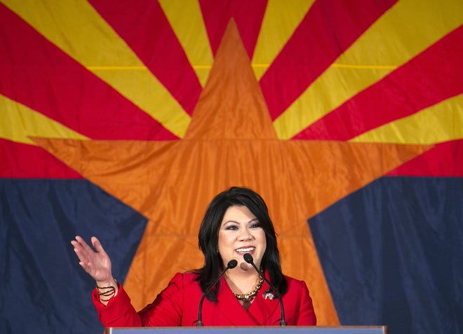 Kimberly Yee makes her victory speech for State Treasurer during the Republican watch party at the DoubleTree Resort in Scottsdale on Nov. 6, 2018.