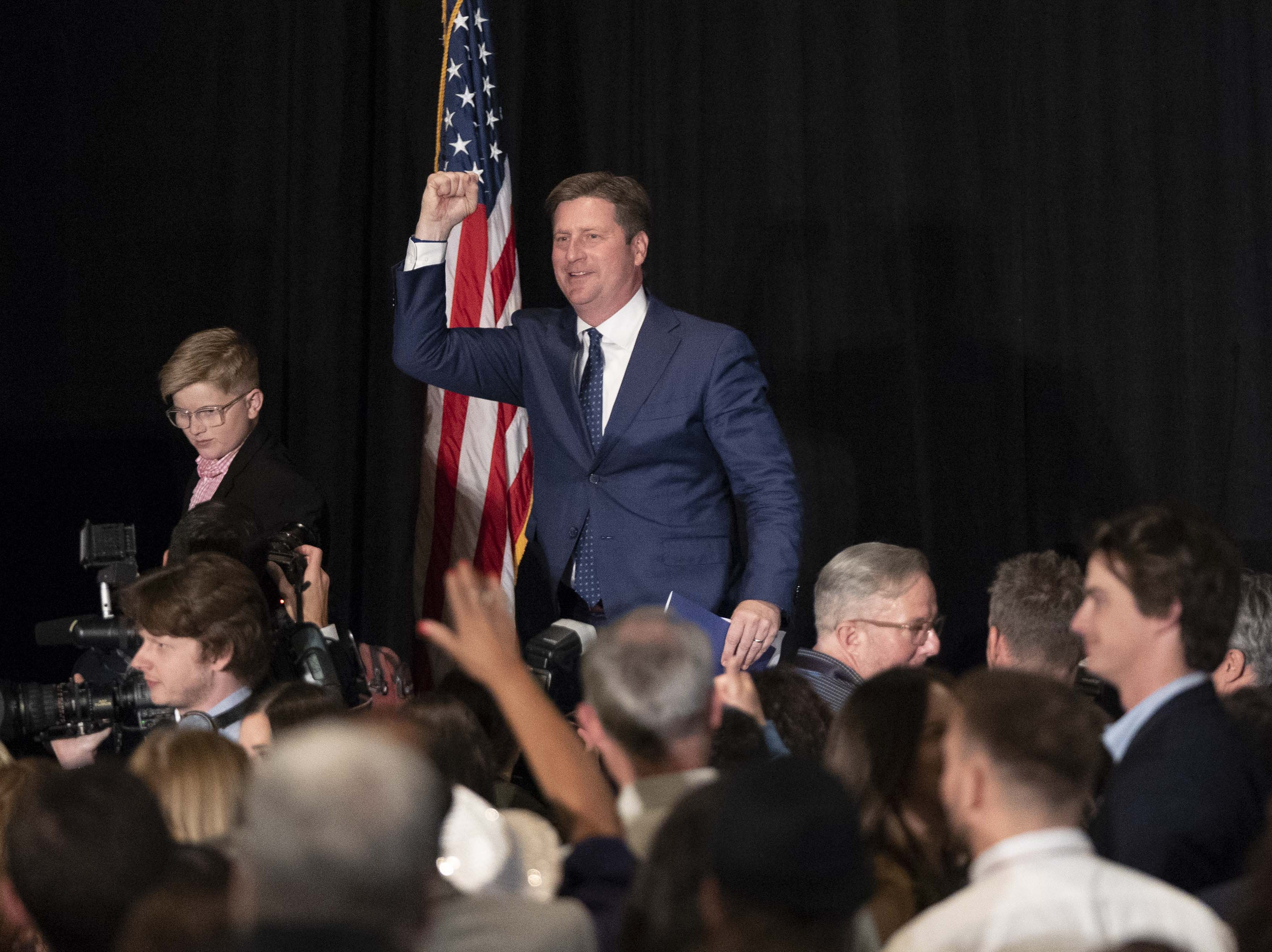 Greg Stanton, Democratic candidate for U.S. Representative of Arizona's 9th Congressional District gives, his victory speech along with his family at the Renaissance Phoenix Downtown Hotel on Nov. 6, 2018.