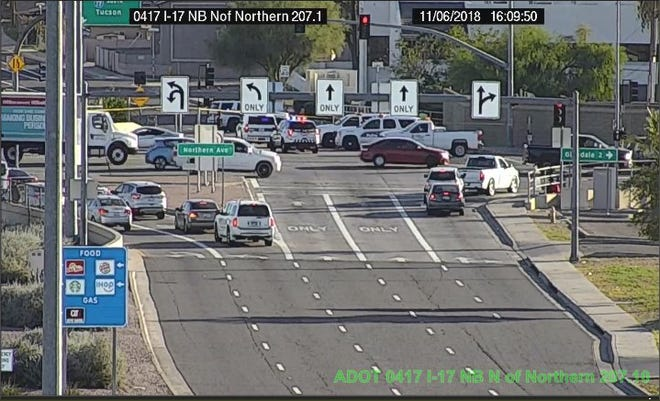 The I-17 on-ramp at Northern was closed due to a serious collision involving a motorcycle.