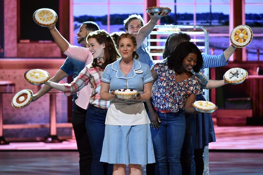 "Jessie Mueller and the cast of ""Waitress"" perform onstage during the 70th Annual Tony Awards in 2016 in New York City."
