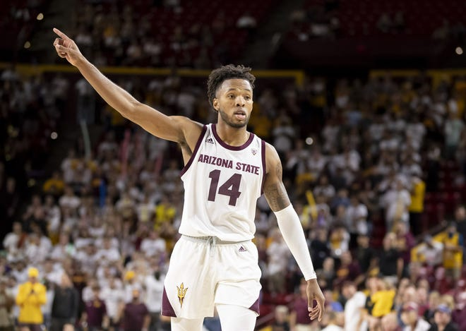 Forward Kimani Lawrence (14) of the Arizona State Sun Devils motions during the game against the Cal State Fullerton Titans at Wells Fargo Arena on Tuesday, November 6, 2018 in Tempe, Arizona.