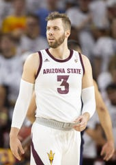 Forward Mickey Mitchell (3) of the Arizona State Sun Devils during the game against the Cal State Fullerton Titans at Wells Fargo Arena on Tuesday, November 6, 2018 in Tempe, Arizona.