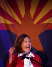 Congressional District 2 candidate Ann Kirkpatrick gives a victory speech Nov. 6, 2018, at the DoubleTree by Hilton Hotel in Tucson.