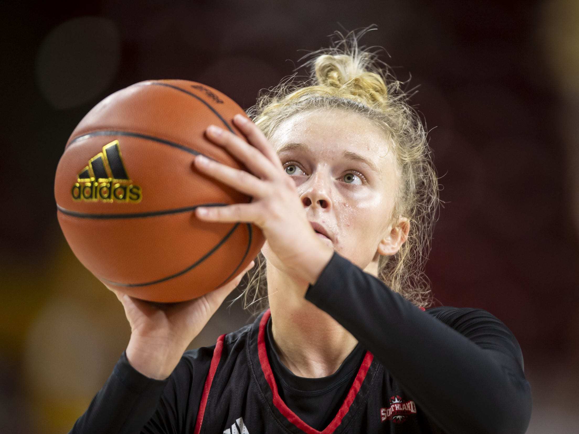 Guard Kara Speer (5) of the Incarnate Word Cardinals shoots a free throw against the Arizona State Sun Devils at Wells Fargo Arena on Tuesday, November 6, 2018 in Tempe, Arizona.