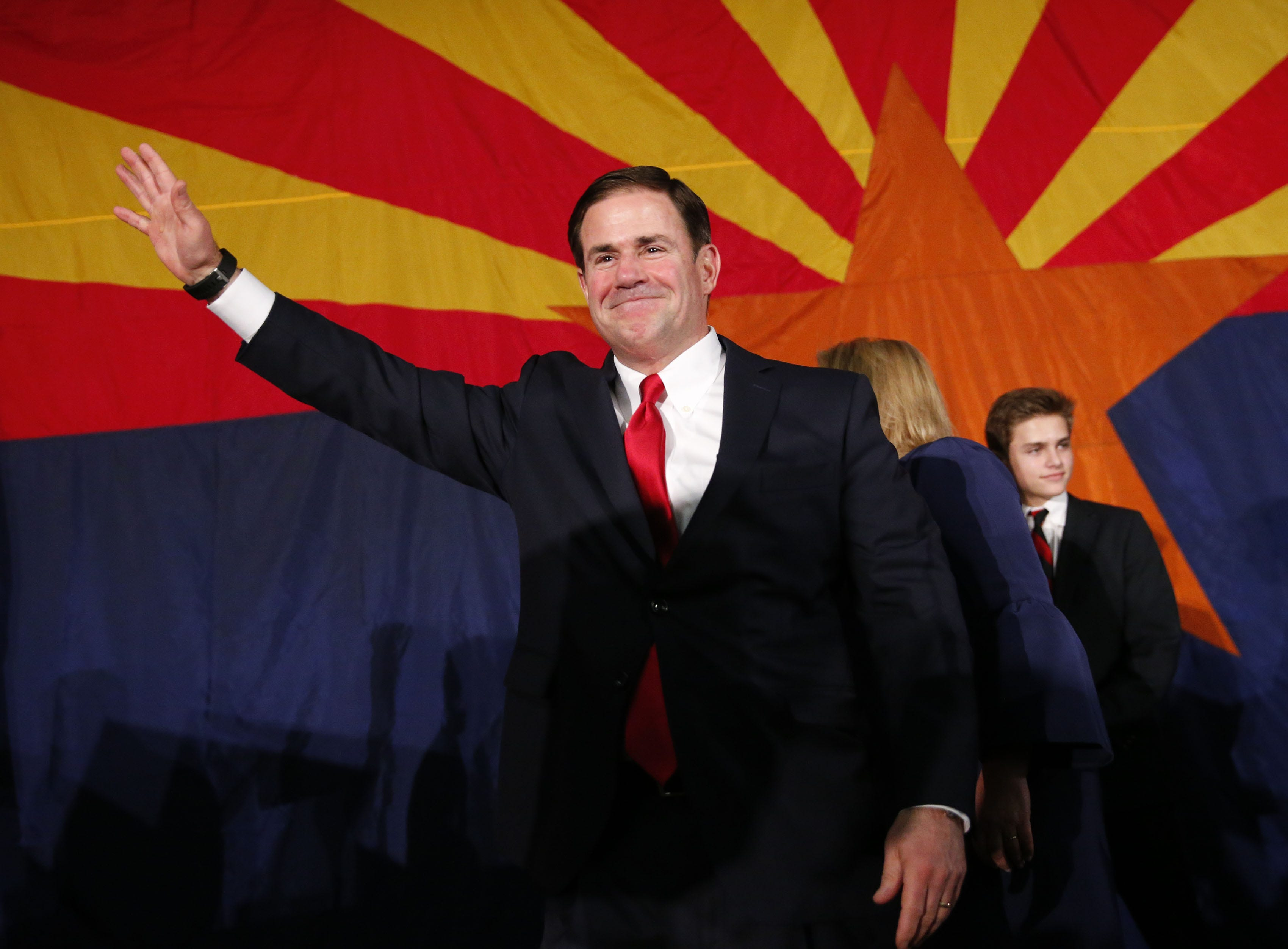 Gov. Doug Ducey speaks to supporters Nov. 6, 2018, during the Arizona Republican Party Election Night party in Scottsdale. Ducey won his re-election against Democratic challenger David Garcia.