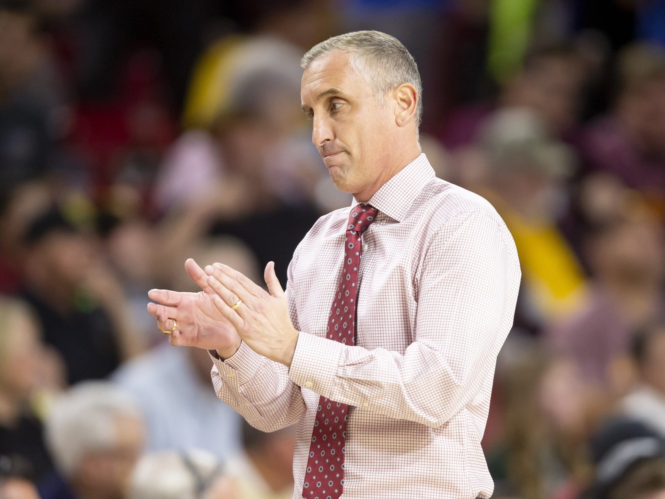 Head coach Bobby Hurley of the Arizona State Sun Devils applauds during the game against the Cal State Fullerton Titans at Wells Fargo Arena on Tuesday, November 6, 2018 in Tempe, Arizona.