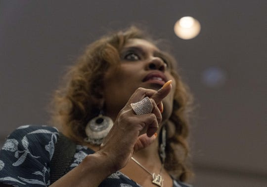 Democratic supporter Audrey Bell Jenkins cheers at the an election party at the Renaissance Phoenix Downtown Hotel on Nov. 6, 2018.