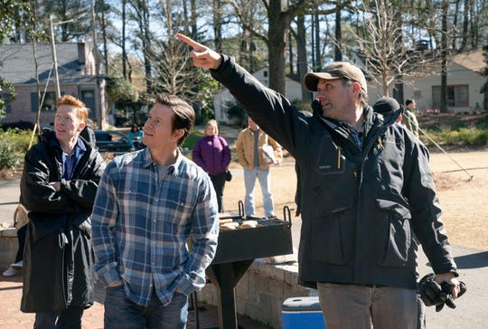 """Sean Anders (right) directs Mark Wahlberg during the filming of """"Instant Family."""""""