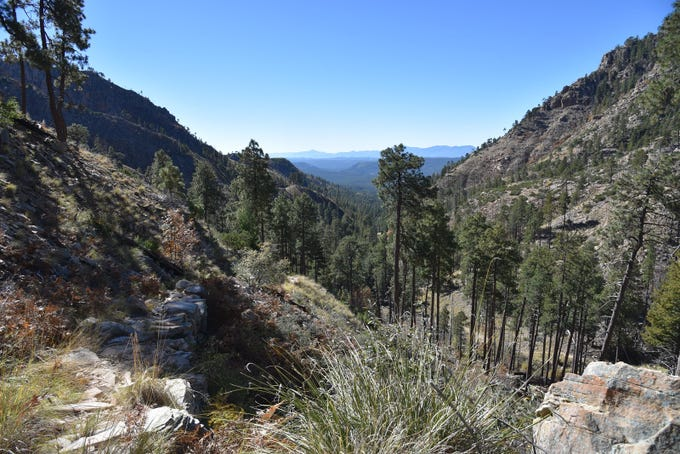 View from near the top of Col. Devin Trail on the Mogollon Rim near Payson.