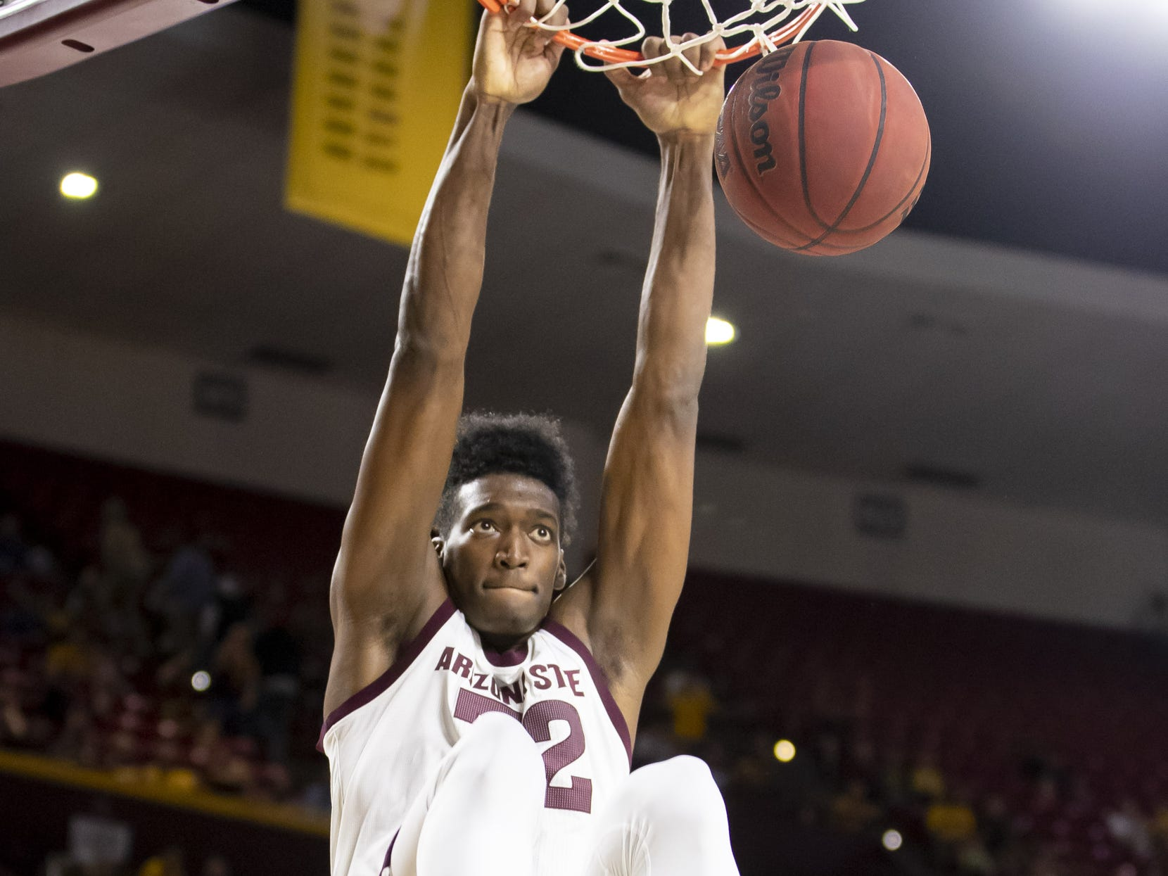 Forward De'Quon Lake (32) of the Arizona State Sun Devils dunks against the Cal State Fullerton Titans at Wells Fargo Arena on Tuesday, November 6, 2018 in Tempe, Arizona.