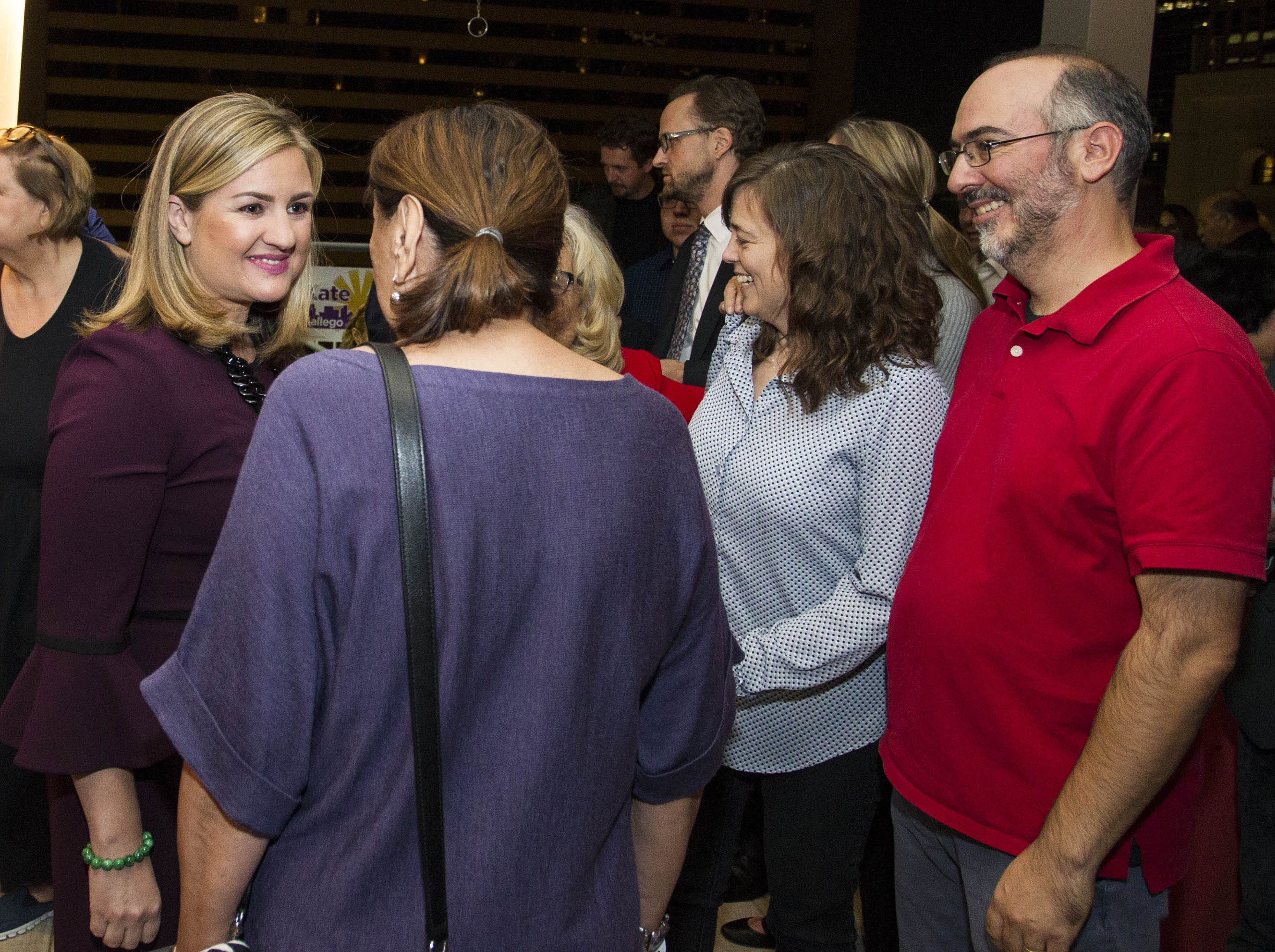 Phoenix mayoral candidate Kate Gallego talks to constituents at the Hilton Garden Inn in Phoenix on Nov. 6, 2018.