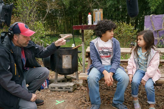 """Sean Anders directs Gustavo Quiroz and Julianna Gamiz on the set of """"Instant Family."""" """" I really like working with kids,"""" the director says."""
