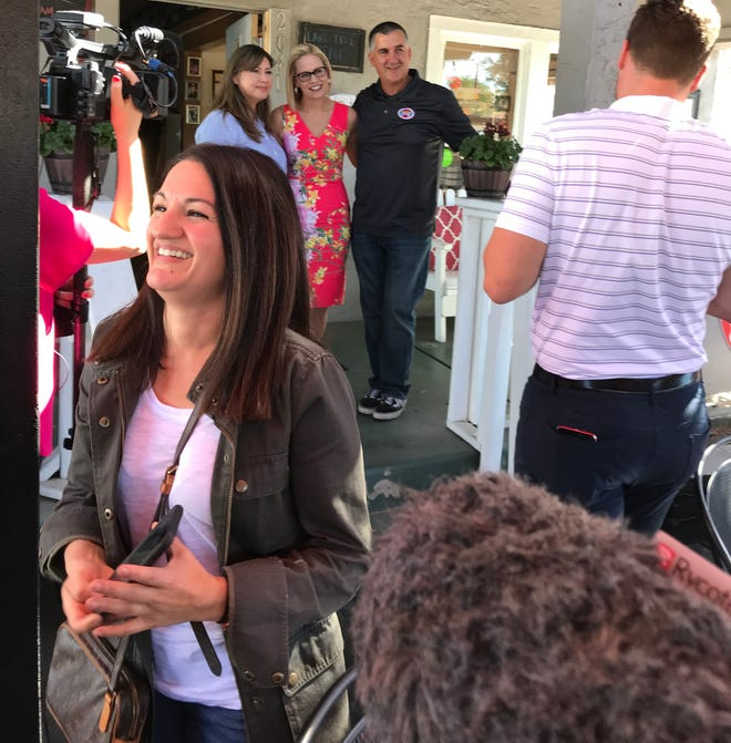 'The Gaggle' host Yvonne Wingett Sanchez covering a Kyrsten Sinema Senate campaign event on Election Day, Nov. 6, 2018.