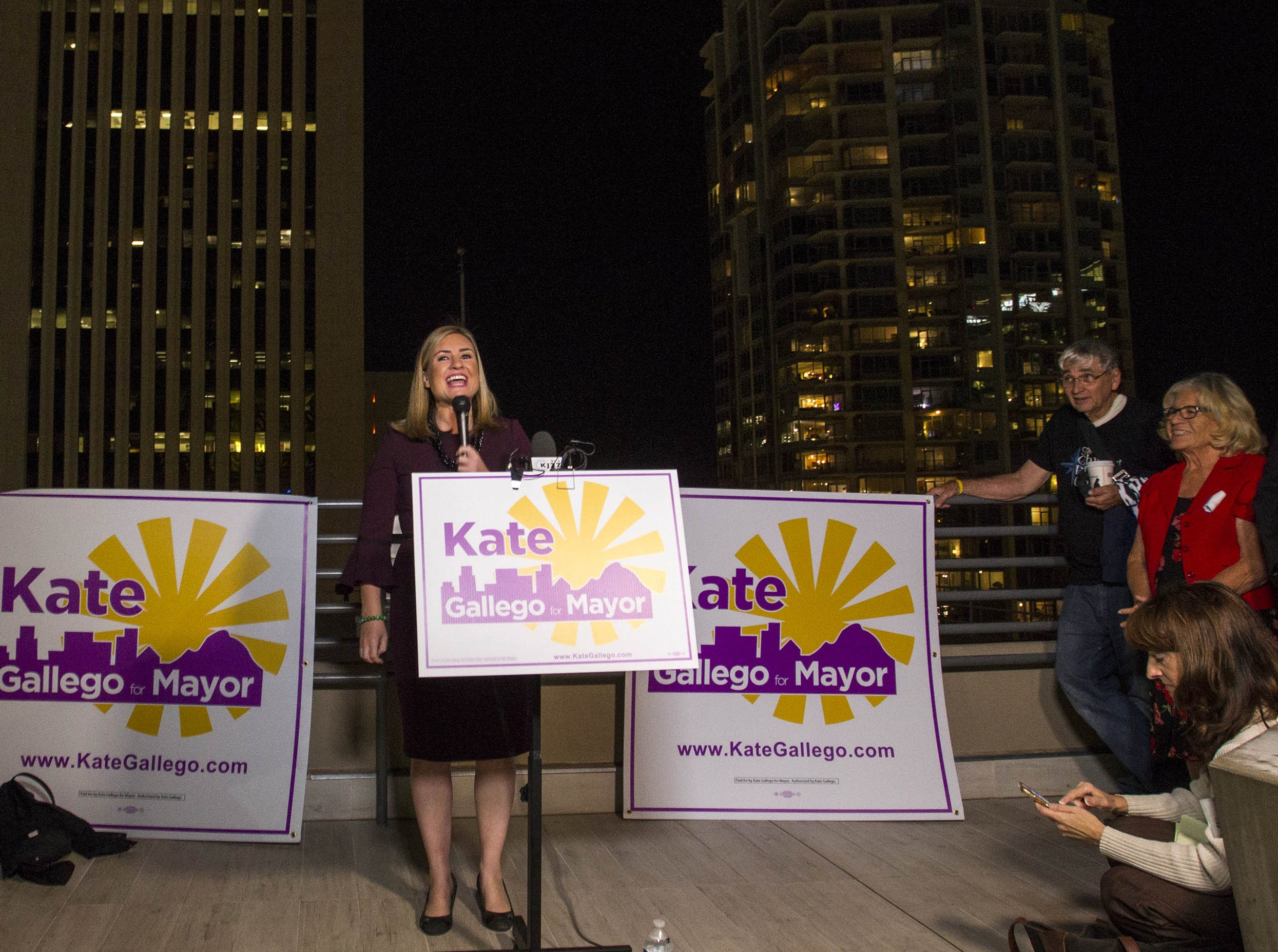Phoenix mayoral candidate Kate Gallego talks to a crowd of supporters at the Hilton Garden Inn in Phoenix on Nov. 6, 2018.