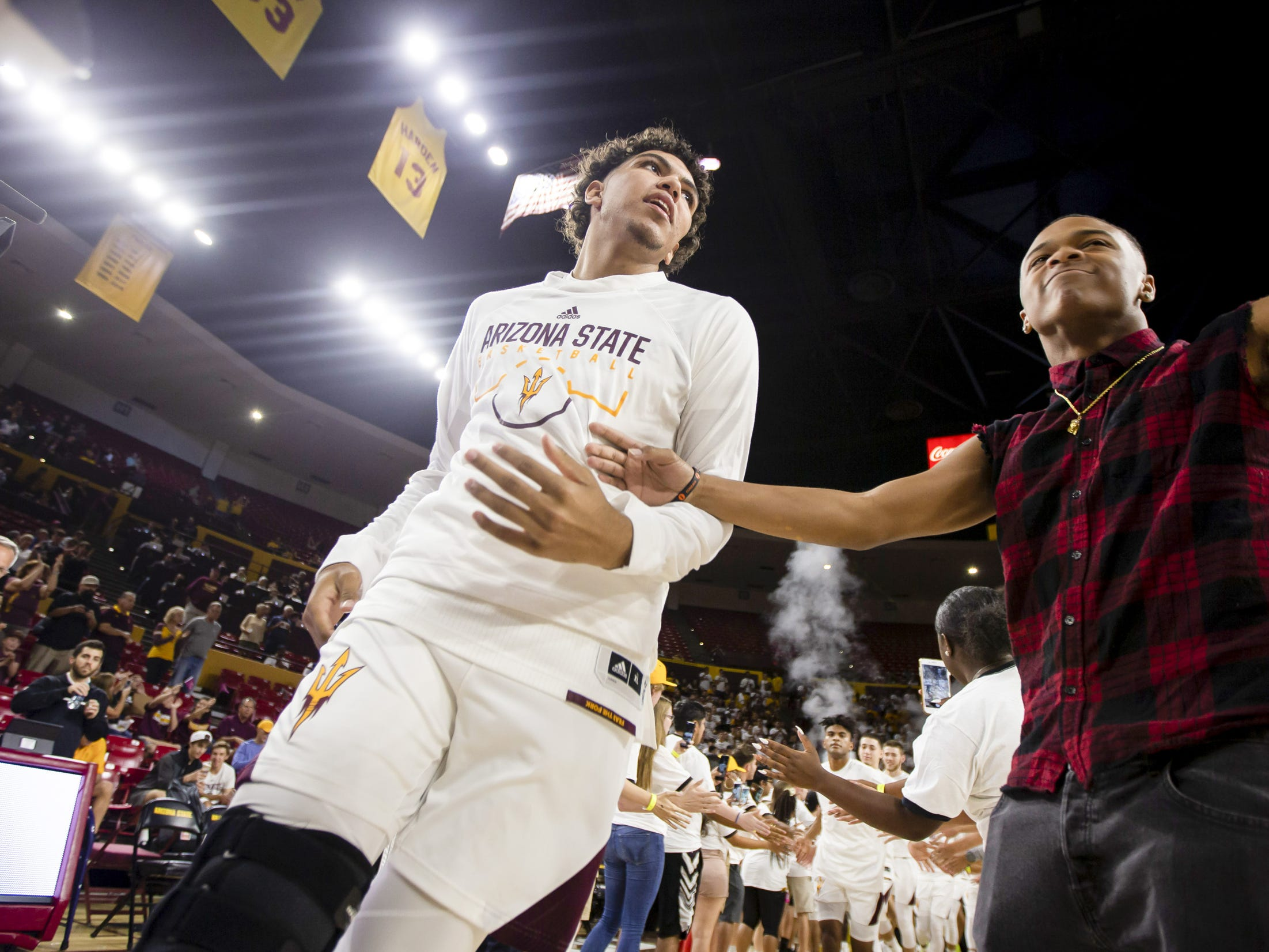 The Arizona State Sun Devils take the court against the Cal State Fullerton Titans at Wells Fargo Arena on Tuesday, November 6, 2018 in Tempe, Arizona.