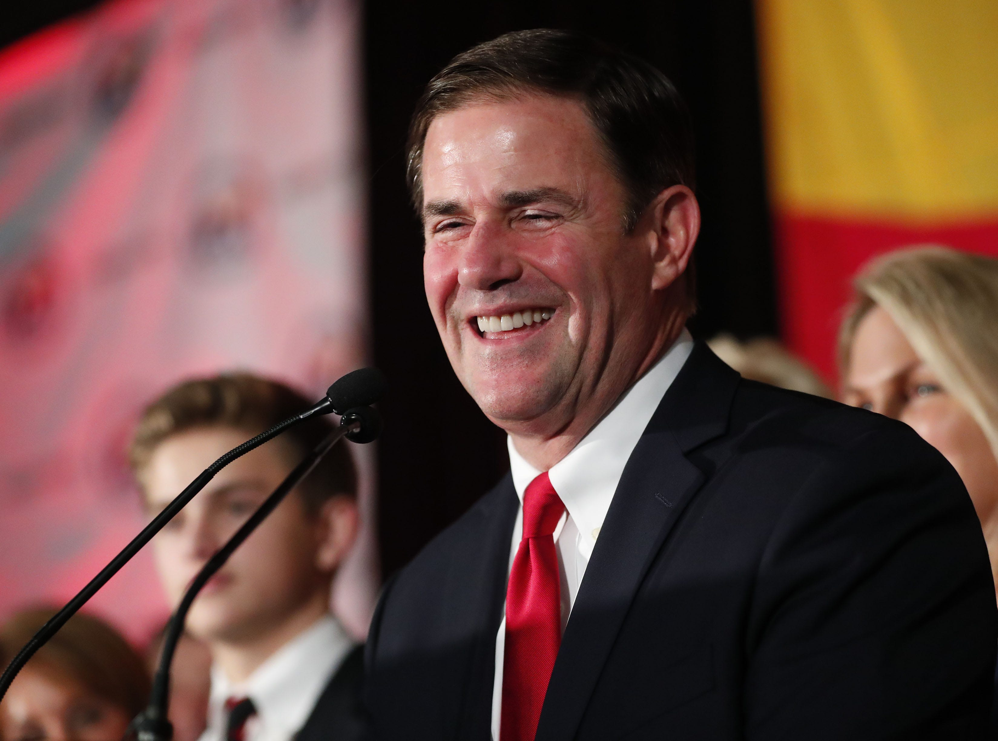 Gov. Doug Ducey speaks to supporters Nov. 6, 2018, during the Arizona Republican Party Election Night party in Scottsdale, Ariz. Ducey won his re-election against Democratic challenger David Garcia.
