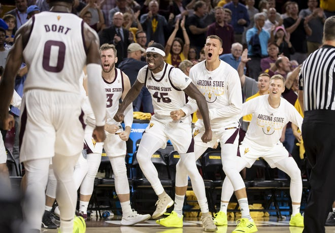 The Arizona State Sun Devils react following a three-point play against the Cal State Fullerton Titans at Wells Fargo Arena on Tuesday, November 6, 2018 in Tempe, Arizona.