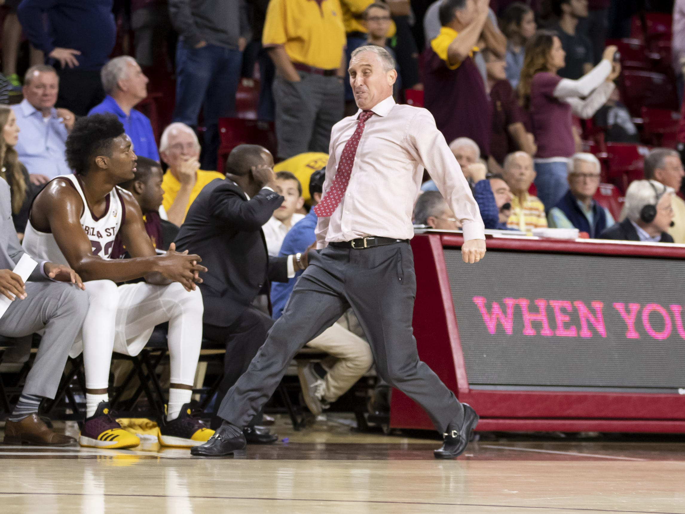 Head coach Bobby Hurley of the Arizona State Sun Devils reacts following a call during the game against the Cal State Fullerton Titans at Wells Fargo Arena on Tuesday, November 6, 2018 in Tempe, Arizona.