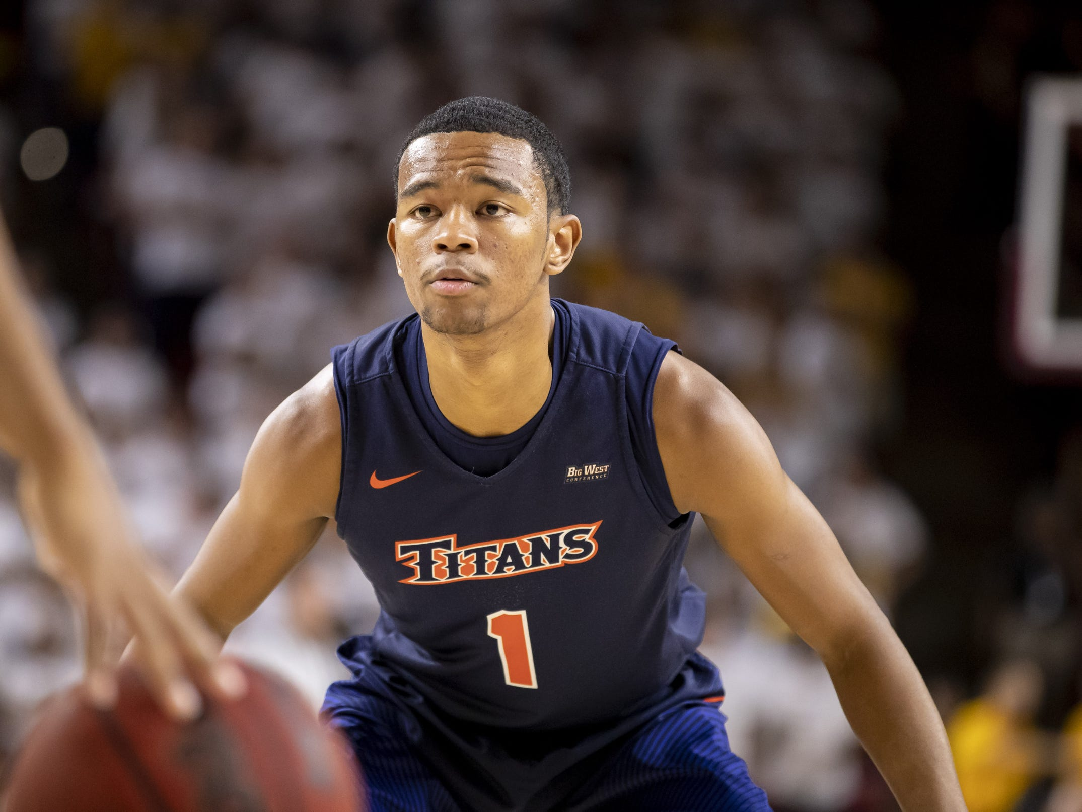 Guard Jamal Smith (1) of the Cal State Fullerton Titans during the game against the Arizona State Sun Devils at Wells Fargo Arena on Tuesday, November 6, 2018 in Tempe, Arizona.