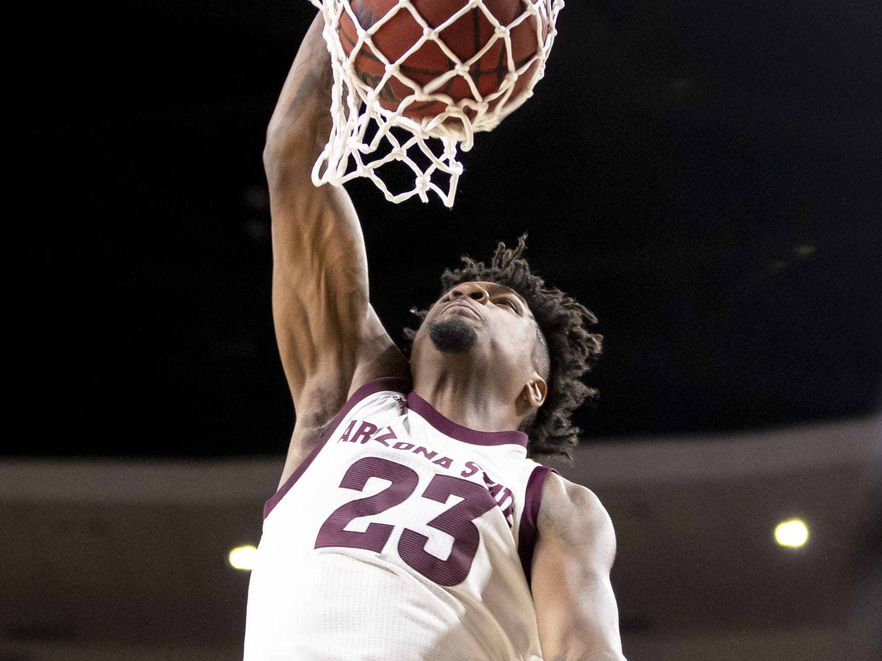 Forward Romello White (23) of the Arizona State Sun Devils dunks against the Cal State Fullerton Titans at Wells Fargo Arena on Tuesday, November 6, 2018 in Tempe, Arizona.