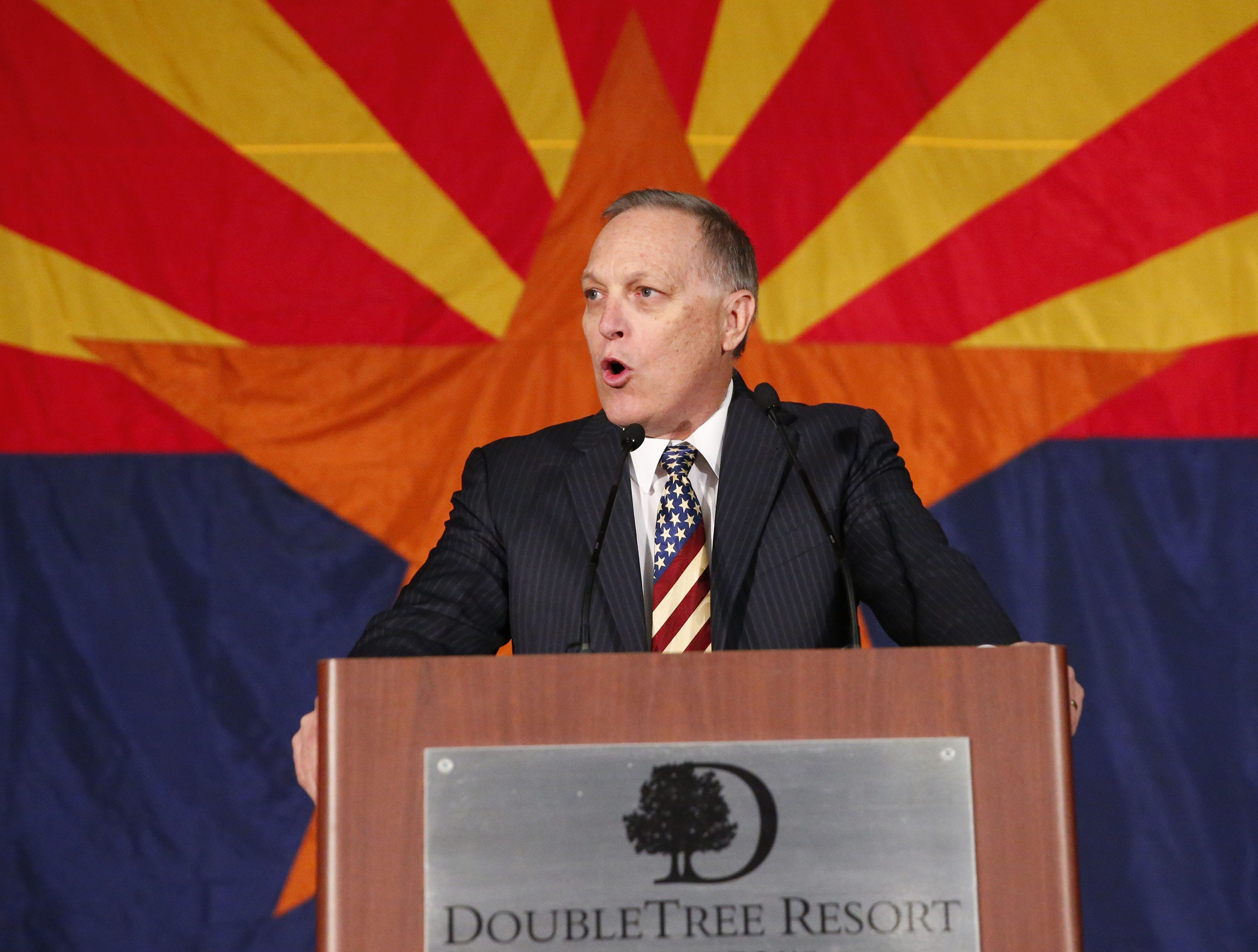 Congressman Andy Biggs speaks during the Arizona Republican Party Election Night party in Scottsdale Nov. 6, 2018.