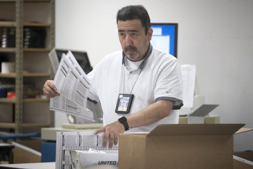 Gary Ramirez processes ballots on Nov. 7, 2018, at the Maricopa County Tabulation and Election Center, on 510 S. 3rd Ave., Phoenix.