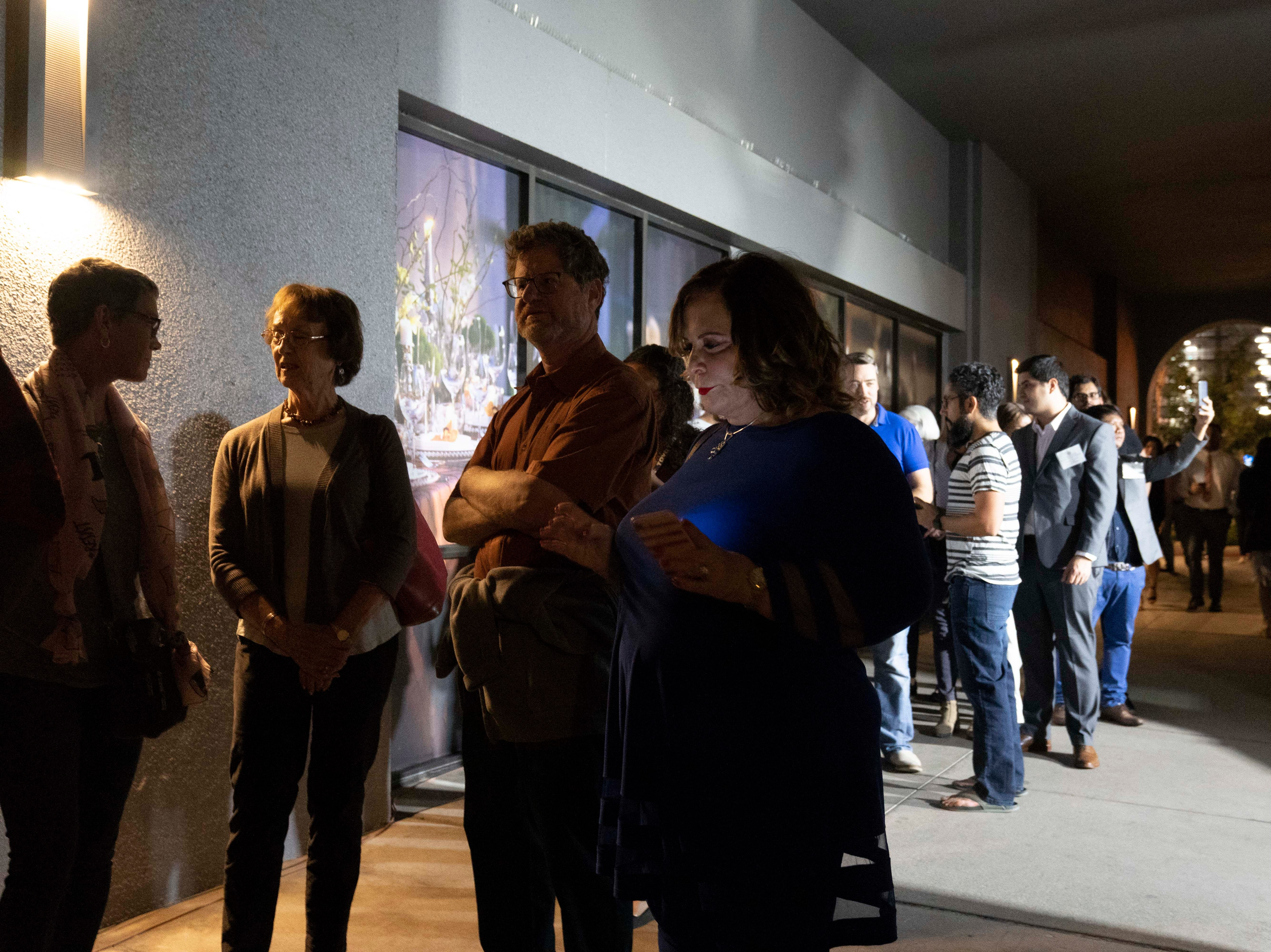 Democrat supporters wait in line to see candidates at the Renaissance Phoenix Downtown Hotel on Nov. 6, 2018.