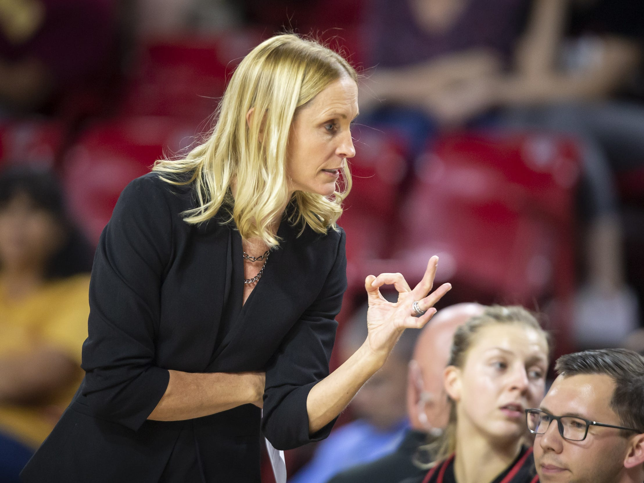 Head coach Christy Smith of the Incarnate Word Cardinals motions during the game against the Arizona State Sun Devils at Wells Fargo Arena on Tuesday, November 6, 2018 in Tempe, Arizona.