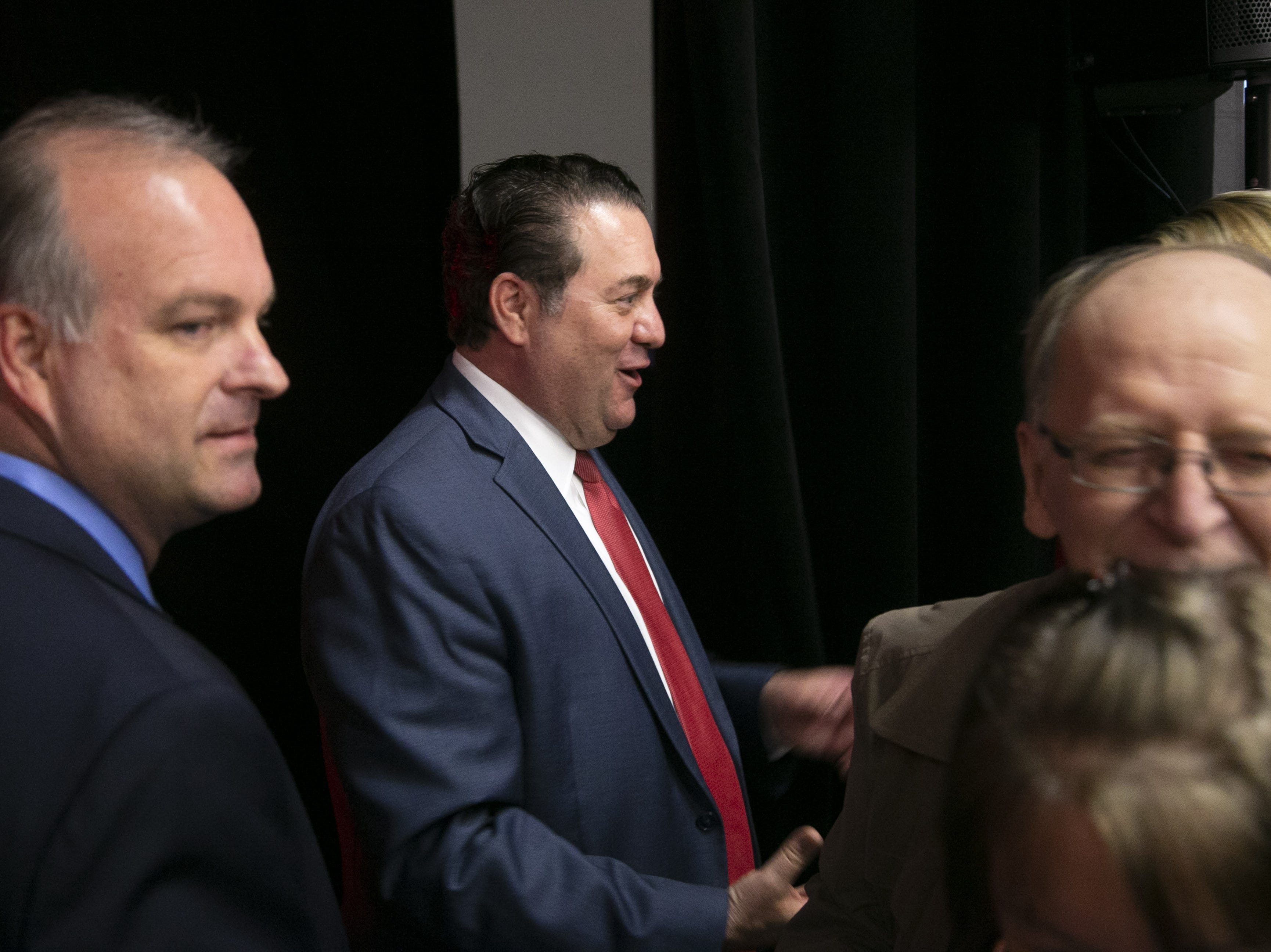Arizona Attorney General Mark Brnovich speaks with supporters after making his victory speech during the Republican watch party at the DoubleTree Resort in Scottsdale on Nov. 6, 2018.