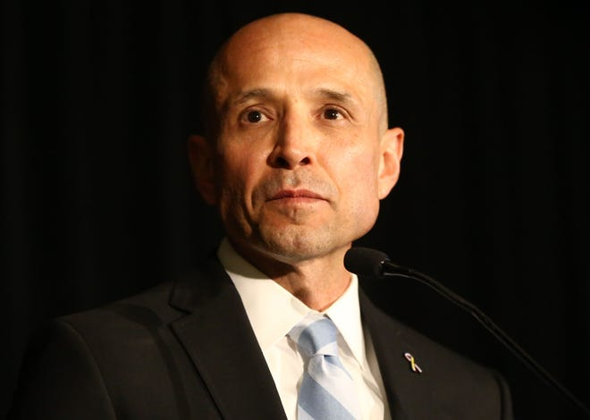 David Garcia, Democratic candidate for Arizona governor, addresses the crowd at the election night watch party on Nov. 6, 2018, at the Renaissance Hotel in Phoenix.